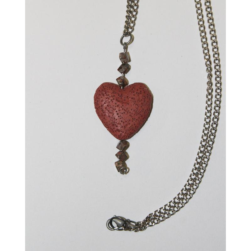One of a kind,Pink Rock Soup Heart Necklace