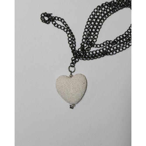 One of a kind, White Heart Rock Soup Necklace