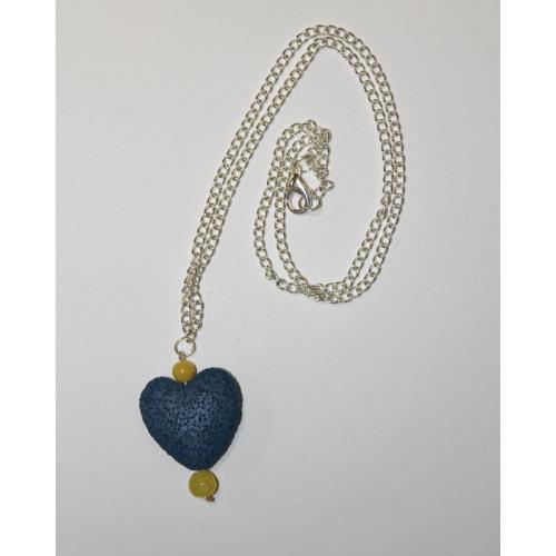 One of a kind, Blue Heart Rock Soup Necklace